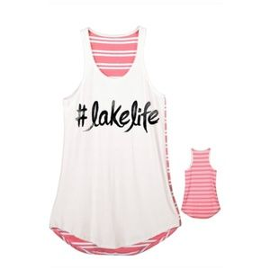 #Lakelife A-line Tank Top with Striped Back Pink